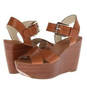 NWT Michael Kors Peggy wedge in luggage
